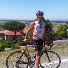 """Uitzicht op rechts """"vakantieverblijf"""" Napoleon (Elba), Links Frankrijk (Corsica)."""